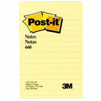 "3M-660YL-Post-It YellowLined-Note-4""x 6"""