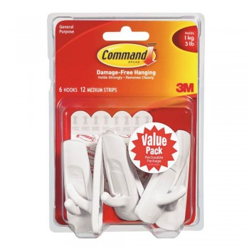 3M 17001-VP-6PK Command Medium Utility Hook With Adhesive Strips White Value Pack Of 6