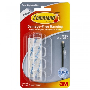3M 17017 Wire/Round Cord Clips Clear Pack (4 Hooks, 5 Strips)
