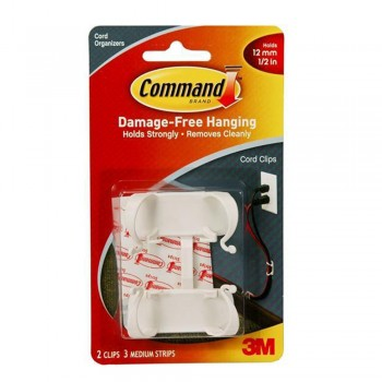 3M 17303 Command Strips, Large Cord Clips - 2 Clips 3 Strip