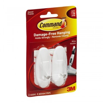3M 17068 Comm Medium Wire Hooks (2 Hooks, 4 Medium Strips)