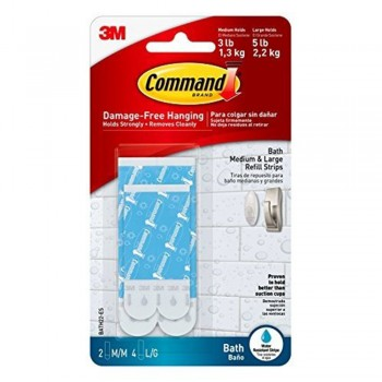 3M Command Bath Water-Resistant Refill Strips, 2-Medium, 4-Large