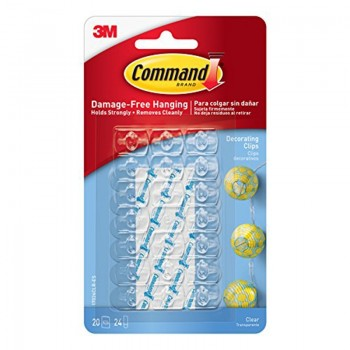3M 17026 Decorating Clip 20 Clear Clips, 24 Strip
