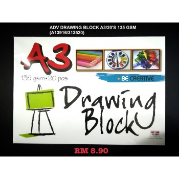 A3 ADV DRAWING BLOCK 135GSM/20'S