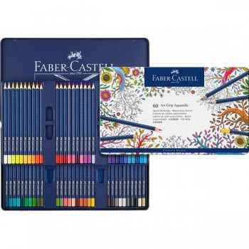 FABER CASTELL 114260 WATER COLOUR PEN ART GRIP AQUA TIN OF 60