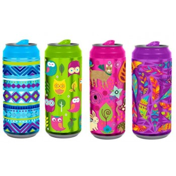 COOL GEAR DOUBLE WALL CAN 16OZ W/FOIL GRAPHIC STRAW