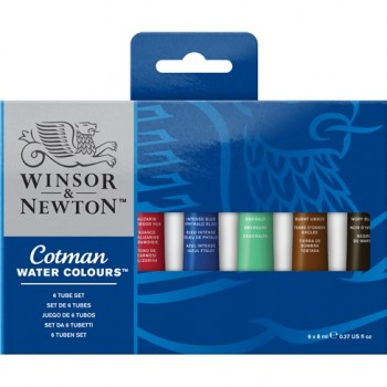 COTMAN WATER COLOURS 6 TUBE SET