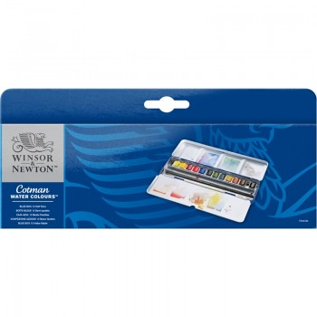 COTMAN WATER COLOURS BLUE BOX – 12  HALF PANS SET