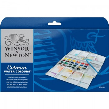 COTMAN WATER COLOURS PAINTING PLUS 24 HALF PAN SET