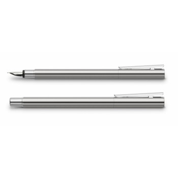 FABER CASTELL 342000 FOUNTAIN PEN (M) NEO SLIM STAINLESS STEEL SHINY