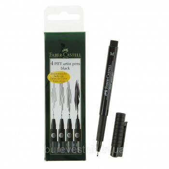 FABER CASTELL 167100 PITT ARTIST PEN BLACK SET OF 4