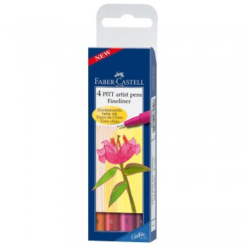 FABER CASTELL 167005 PITT ARTIST PEN WARM COLOUR SET OF 4