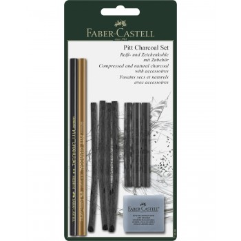 FABER CASTEL 112996 PITT CHARCOAL SET BLISTER CARD SET OF 10