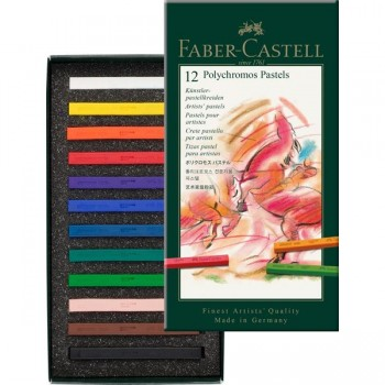 FABER CASTELL 128512 POLYCHROMOS PASTEL CRAYON BOX OF 12