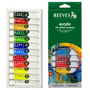 REEVES ACRYLIC COLOUR 12COL 10ML