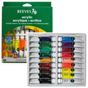 REEVES ACRYLIC COLOUR 18COL 10ML