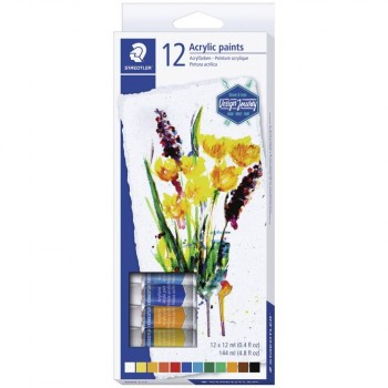 STAEDTLER ACRYLIC PAINT TUBES 12 COLOUR