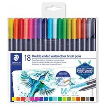STAEDTLER DOUBLE ENDED WATERCOLOUR BRUSH 18 COLOUR