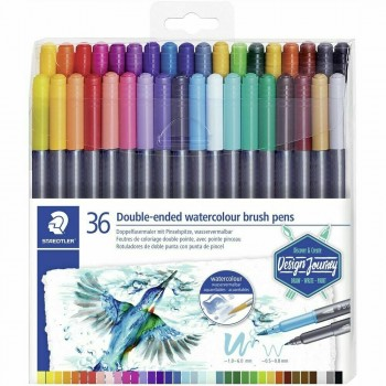 STAEDTLER DOUBLE-ENDED WATERCOL BRUSH 36 COLOUR