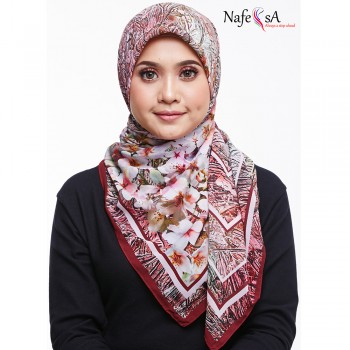 Nafeesa Sakura Cherry Red Shawl