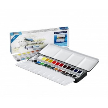 Daler Rowney Aquafine Watercolour 24 Half Pan Metal Ti