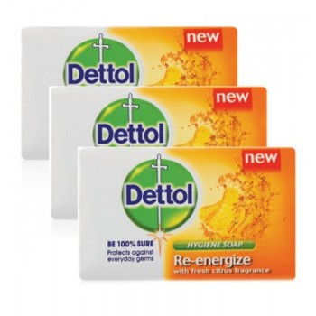 Dettol Body Soap Re-Energize 65g x 3 Pack