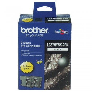 Brother LC-67 Black Twin Pack Ink Cartridge (High Yield)