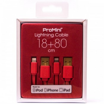 Magic Pro - ProMini Lightning Cable 18cm + 80cm - Red