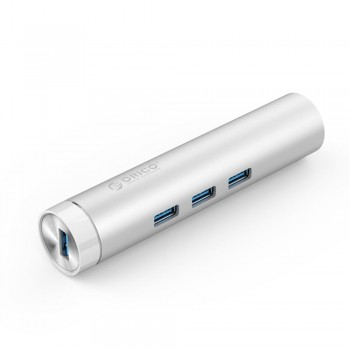 ORICO ARH3L Aluminium USB3.0 3-Port Hub with Gigabit Ethernet Adapter (Item No: D15-26)