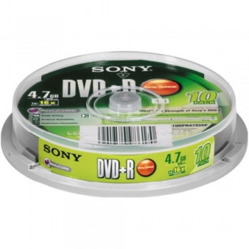 Sony DVD+R 4.7GB 16X Writable Disc - 10in1 Spindle Case