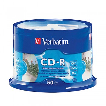 Verbatim CD-R 700MB 52X with Branded Surface - 11.5 x 6.5 x 0cm, 50PC Spindle