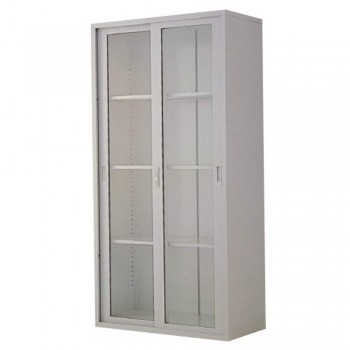 Full-Height Steel Cupboard L35B - Swing Glass Door with 3 Shelves