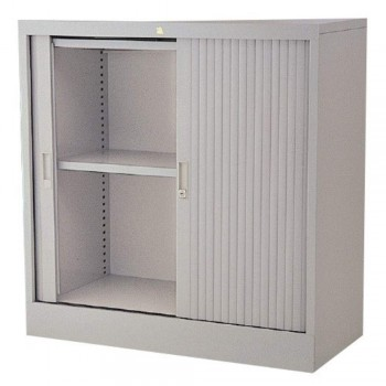 Half-Height Steel Cupboard L38A - Roller Shutter Door with 2 Shelves