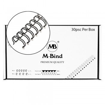 "M-Bind Double Wire Bind 2:1 A4 - 1-1/8""(28.5mm) X 23 Loops,30pcs/box, Black"