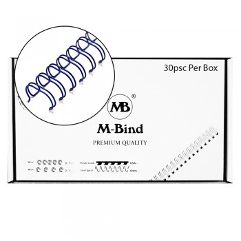"M-Bind Double Wire Bind 2:1 A4 - 1-1/4""(32mm) X 23 Loops, 30pcs/box, Blue"