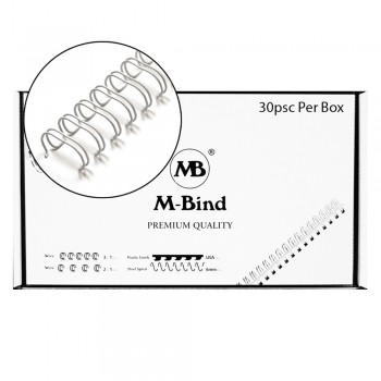 "M-Bind Double Wire Bind 2:1 A4 - 1-1/8""(28.5mm) X 23 Loops, 30pcs/box, White"