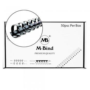 M-Bind Plastic Binding Comb - 22mm x 21 Ring, 50pcs/box, Black