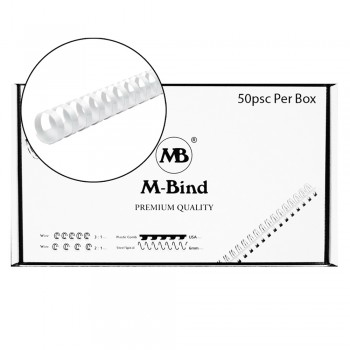 M-Bind Plastic Binding Comb - 22mm x 21 Ring, 50pcs/box, White