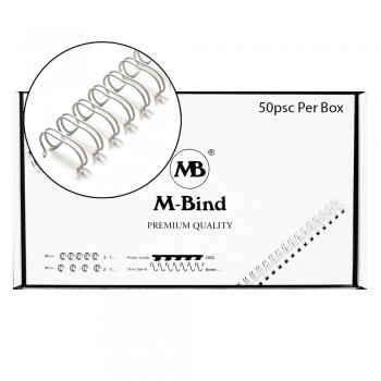 "M-Bind Double Wire Bind 2:1 A4 - 1""(25.4mm) X 23 Loops, 50pcs/box, White"