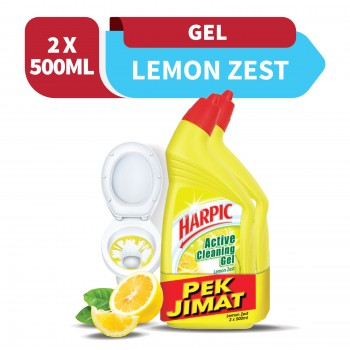 Harpic Lemon Zest Toilet Cleaning Gel 500ml x2 (Value Pack)