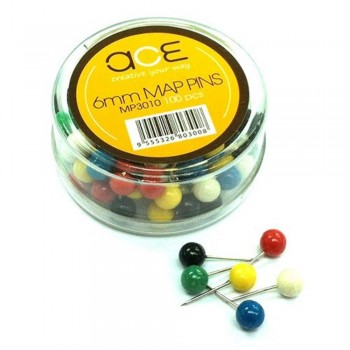 ACE Map Pins - 6mm, 100pcs, 6 colors MP3010