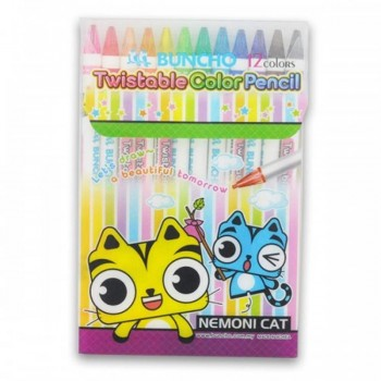 Buncho Twistable Color Pencils - 12 colors