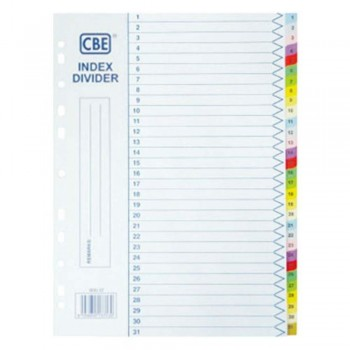 CBE 907-31 - (1-31) Paper Color Index Divider (Item No: B10-154) A1R4B6