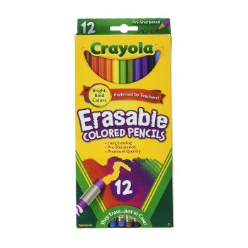 Crayola 12ct Long Eraseable Color Pencil Non Toxic - 684412