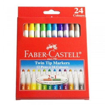 Faber Castell Twin Tip Markers - 24 Colours (Item No: B05-12) A1R2B140