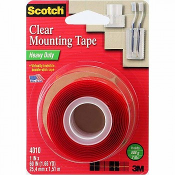 "3M 4010 Scotch Heavy Duty Clear Mounting Tape 1""x60"""