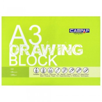 Drawing Block A3 size 200gsm - Green Cover CA-3606-G (Item No: B05-76) A1R2B204