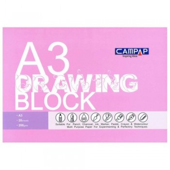 Drawing Block A3 size 200gsm - Pink Cover (Item No: B05-76PK) A1R2B204