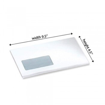 White Envelope - Window - 100gsm - 500 PCS 9.5-inch x 4.5-inch (Item No: C03-14)