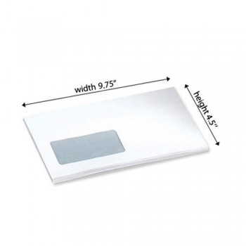 White Envelope - Window - 9.75-inch x 4.5-inch - 500 PCS Peel and Seal (Item No: C03-15) A5R1B10